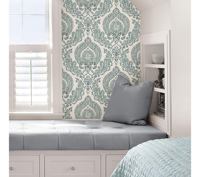 Wallpops Nuwallpaper Navy Kensington Damask Peel Stick Wallpaper Online Only Product Nuwallpaper Peel And Stick Wallpaper Removable Wallpaper