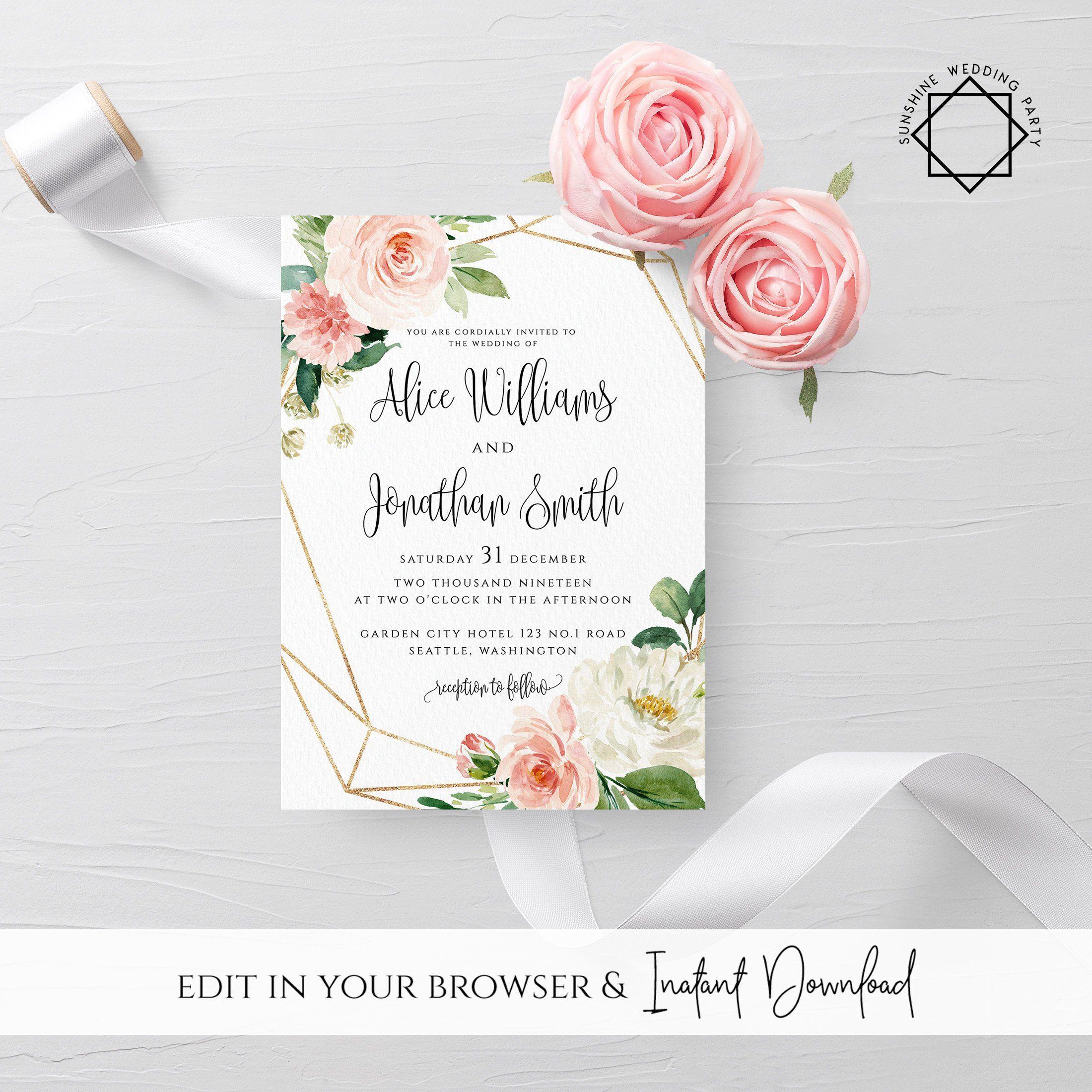 Wedding Invitation Template Printable Wedding Invitation Suite Blush Flower Wedd Flower Wedding Invitation Wedding Invitation Templates Wedding Invitation Sets