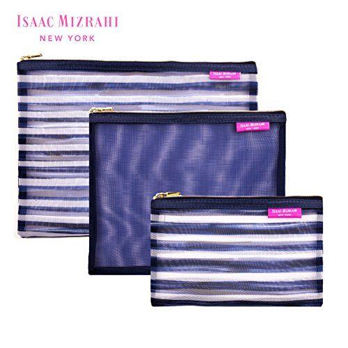 Isaac Mizrahi Travel Cosmetics Mesh Pouch Organizers Three Piece Set