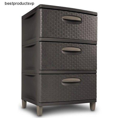 3 Drawer Weave Pattern Plastic Storage Organizer Stackable Cabinet ...