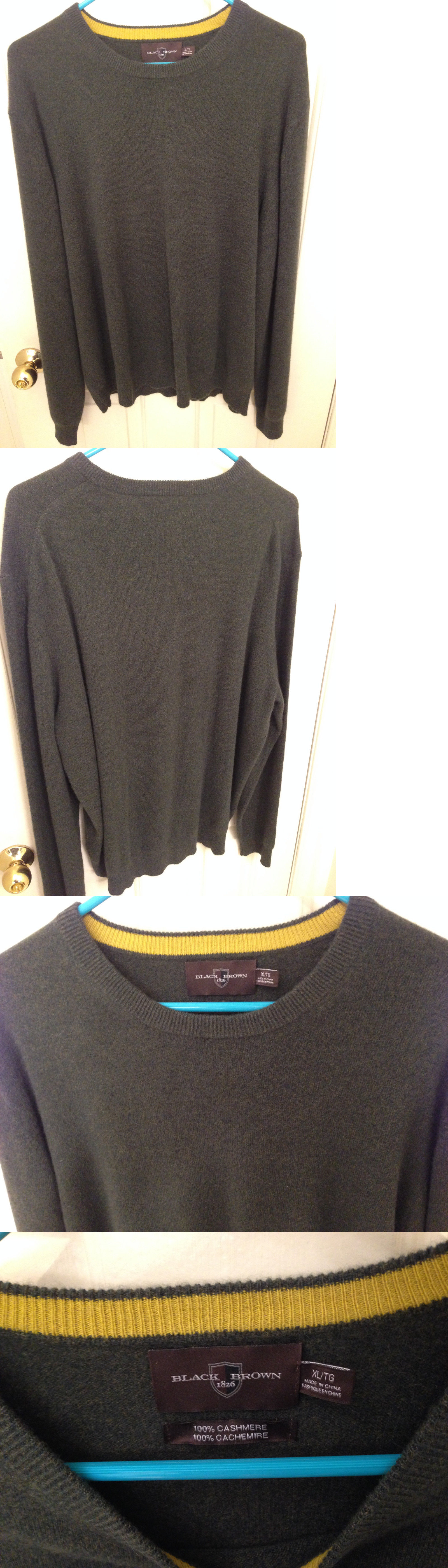 Sweaters 11484: Mens Black Brown 1826 100% Cashmere Xl Sweater ...