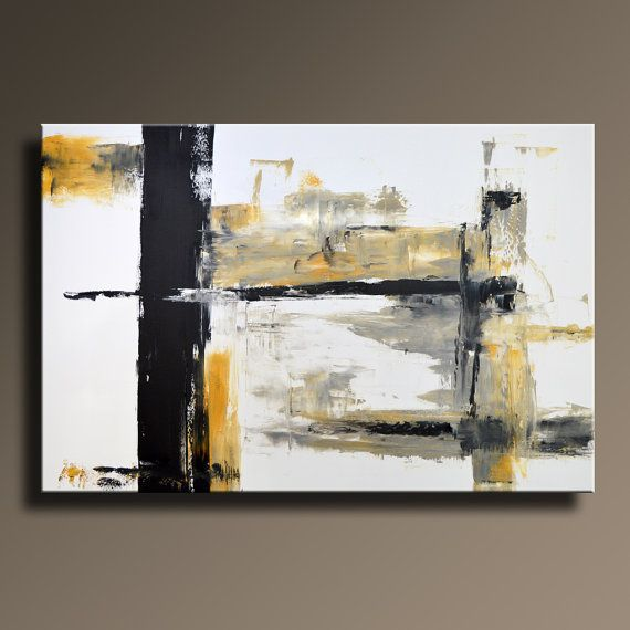 large original abstract yellow gray black white painting canvas art abstract modern wall art. Black Bedroom Furniture Sets. Home Design Ideas