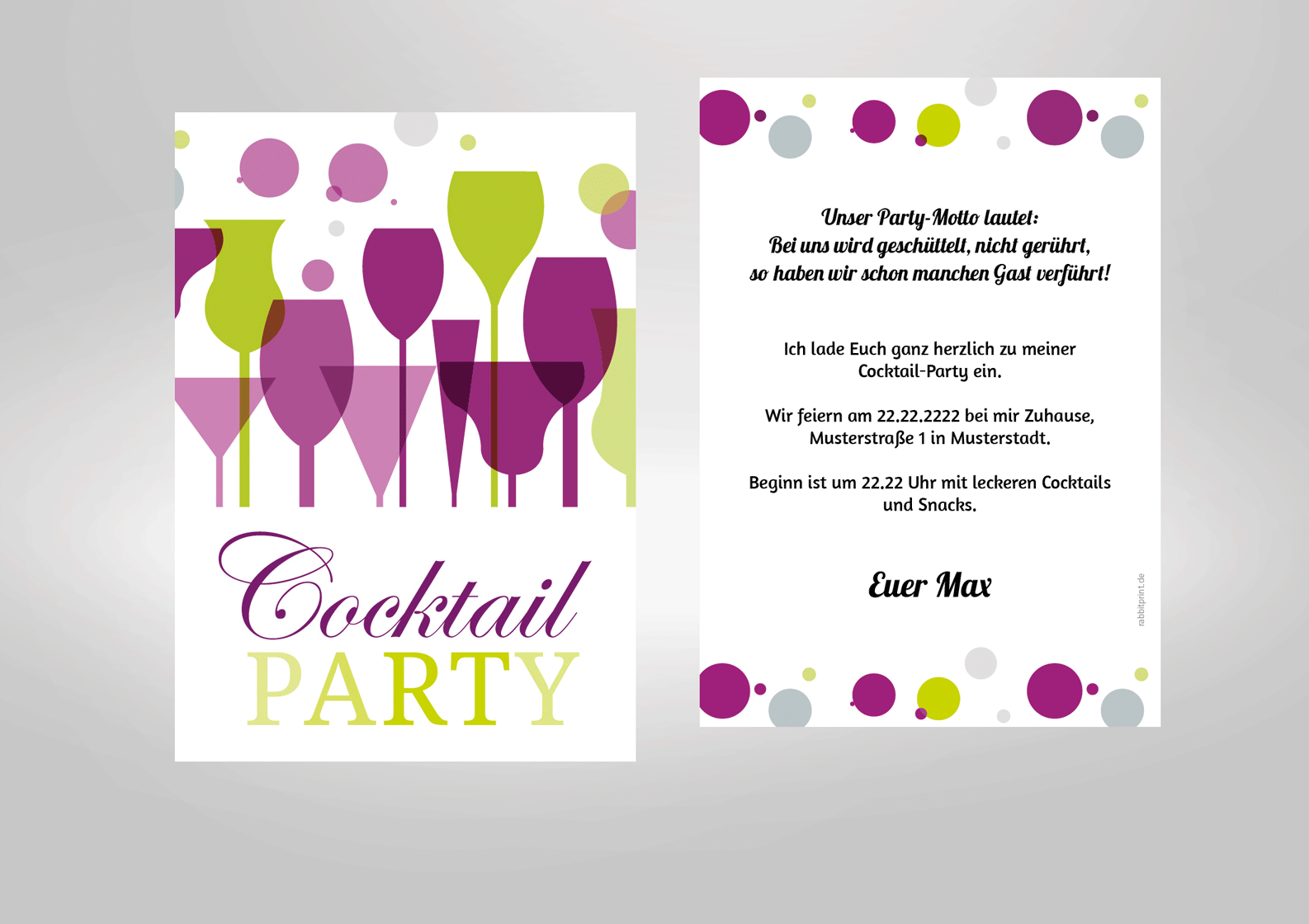 Einladungskarte Zur Cocktailparty Geburtstag