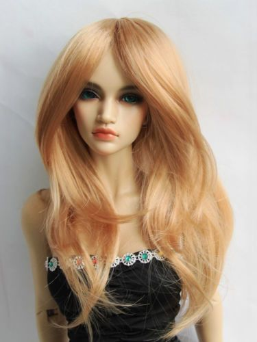 "Cap 1//3 8-9/"" BJD Doll Dollfie Wig Blonde Curly Wave Hair Long Luts DZ DOD SD"