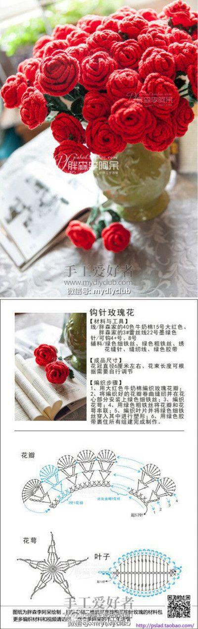 钩针系列 图解 森林里的小默默图片专辑 堆糖 Crochet Rose Crochet Flowers Crochet Flower Patterns