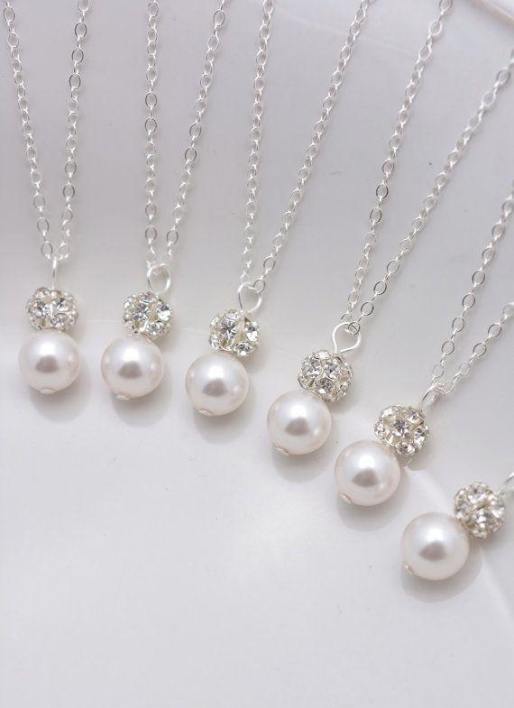 b88e7f1636e6e Set of 8 Bridesmaid Necklaces, Pearl and Rhinestone Necklaces, 8 ...