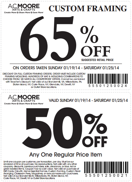 ac moore customers get 65 percent off custom framing or 50 percent off one regular