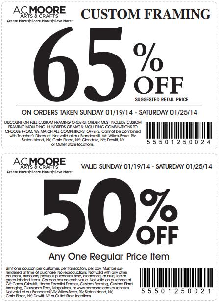 Ac Moore Customers Get 65 Percent Off Custom Framing Or 50 One Regular