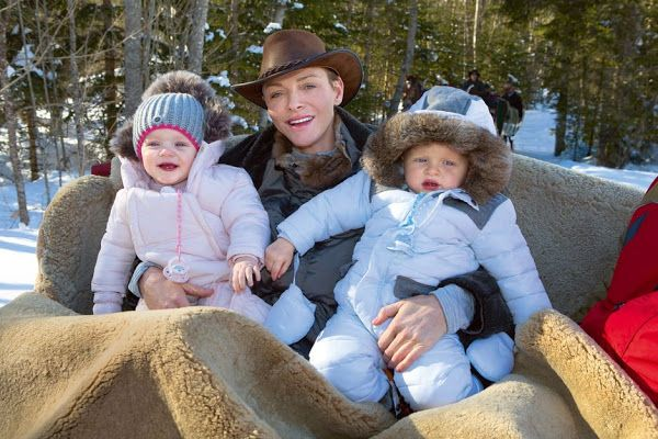 Princess Charlene, Gabriella and Jacques at Gstaad Ski Center