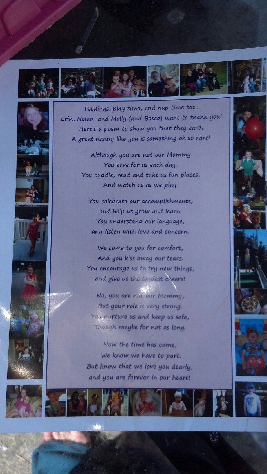 Kids thank you poem for a special