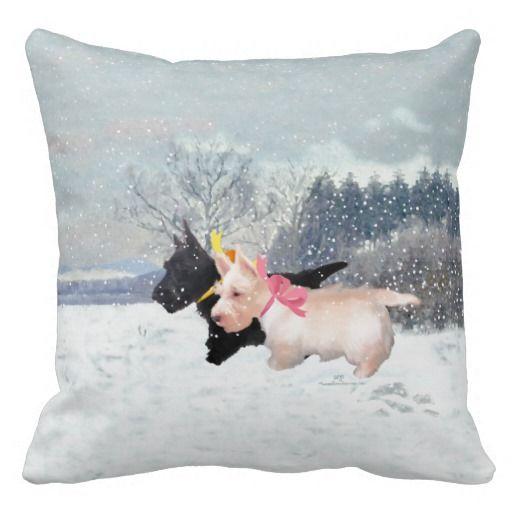 Wheaten Black Scotties Christmas Pillow