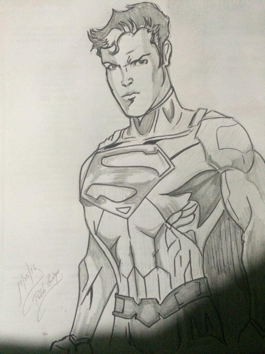 Dibujo a lápiz y marcador de Superman