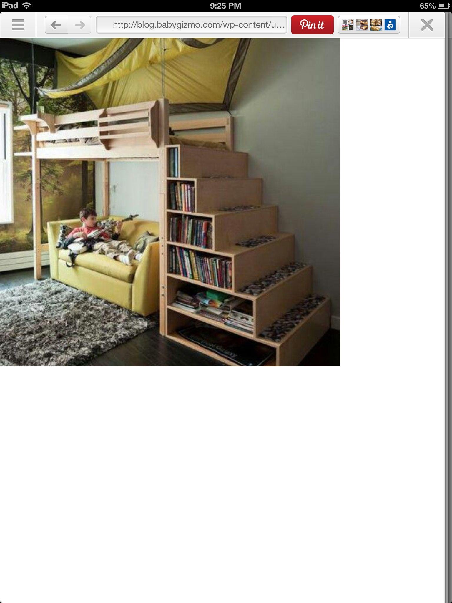 Loft bed storage stairs  Loft Bed with book storage  beds  Pinterest  Lofts Book storage