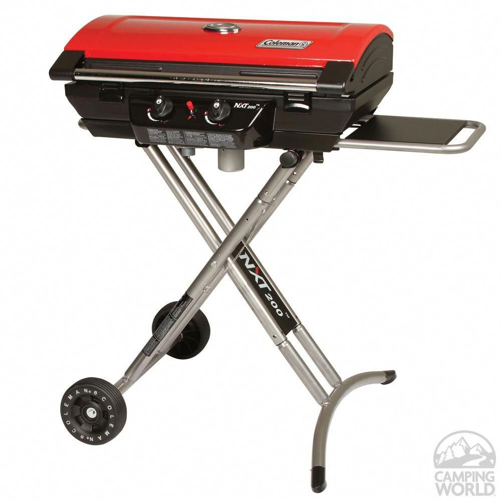 Coleman nxt 200 portable gas grill folds down for easy