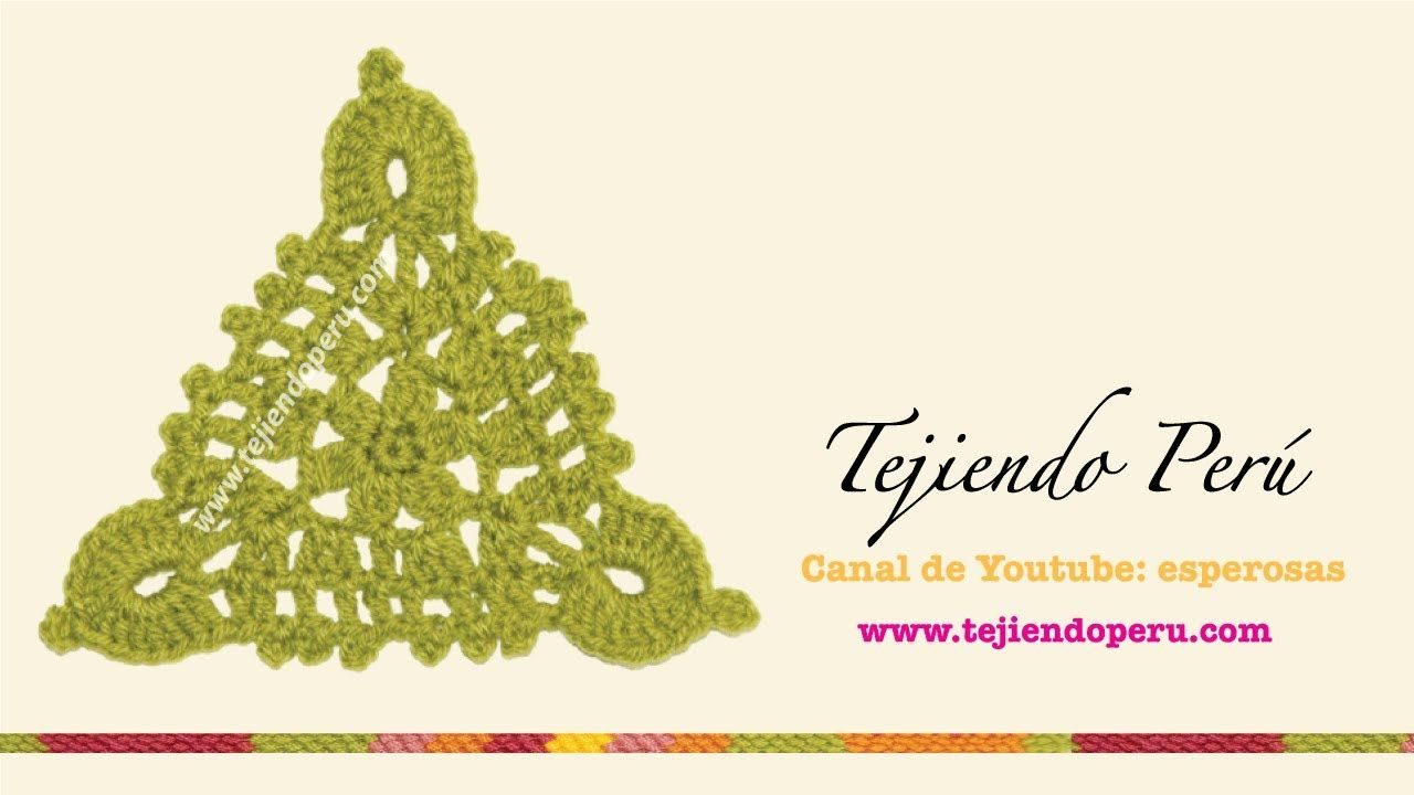 Pastillas triangulares tejidas a crochet: unión rectangular (bufanda ...