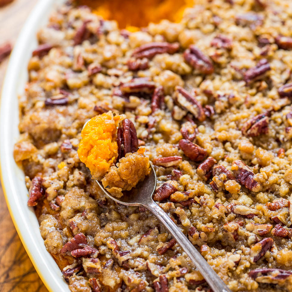 The BEST Sweet Potato Casserole with Pecan Topping - Averie Cooks
