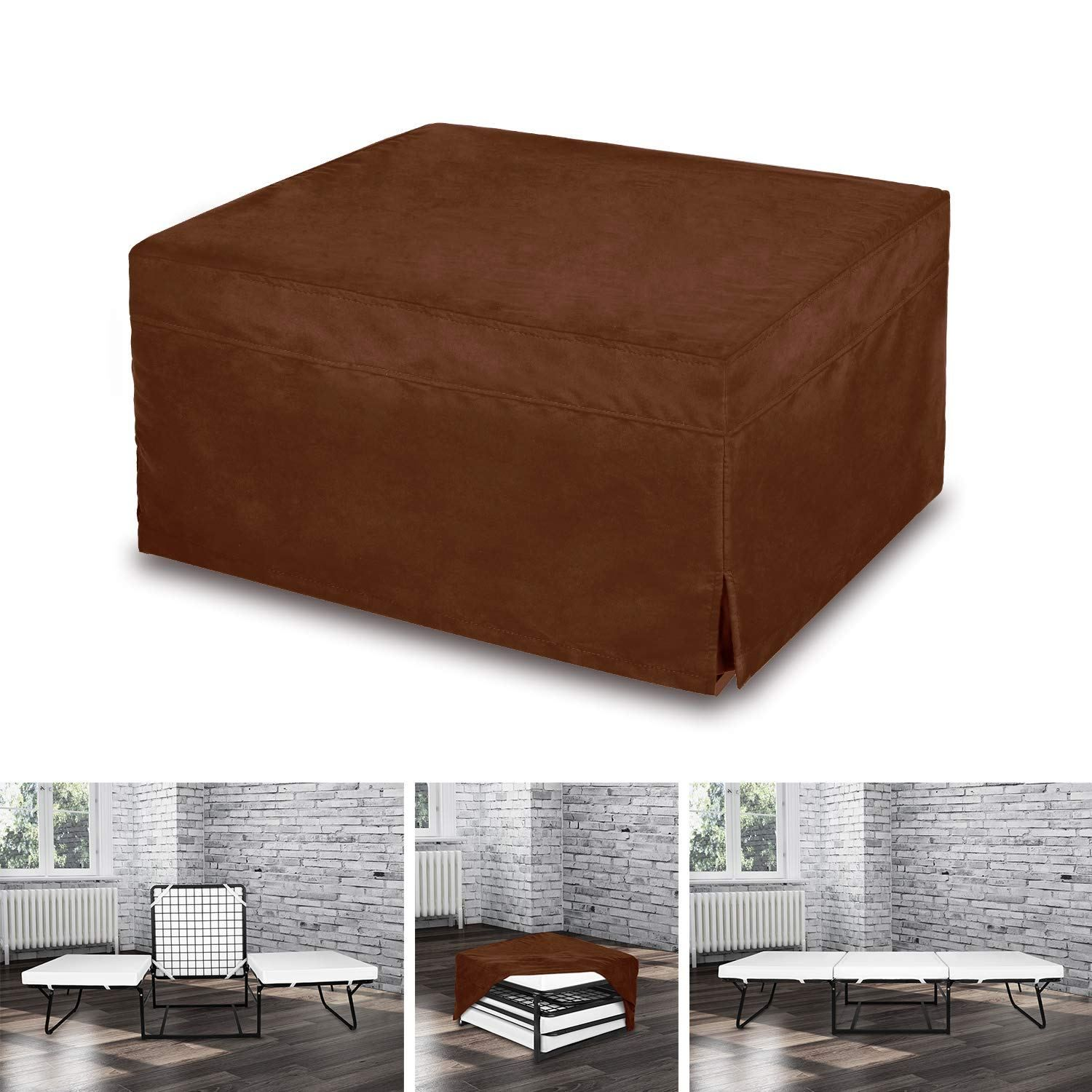 Space Innovations Folding Ottoman Sleeper Guest Bed Brown Folding Ottoman Sleeper Ottoman Guest Bed