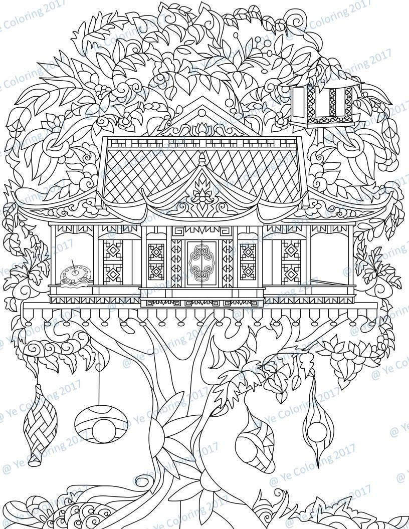 Tree House Coloring Page Printable File Etsy House Colouring Pages Coloring Pages Enchanted Forest Coloring Book