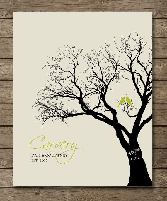 Personalized Wedding Gift Family Tree Art Love Birds In With Carved Initials And
