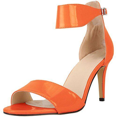 516506b085f2 wealsex Escarpins Sandales Femme Talon Moyen Sexy Cuir Vernis Bout Ouvert  Bride Cheville Boucle Chaussure Soirée Mariage Elégant