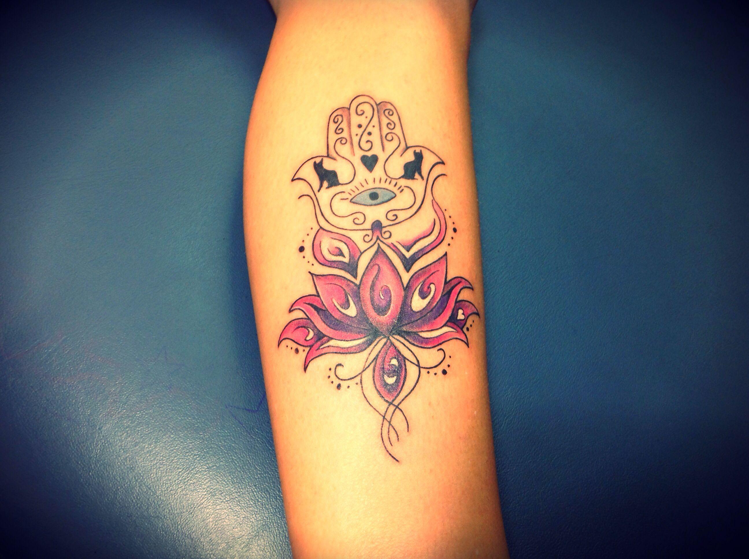 Hamsa hand lotus tattoo with cats Tattoos for women