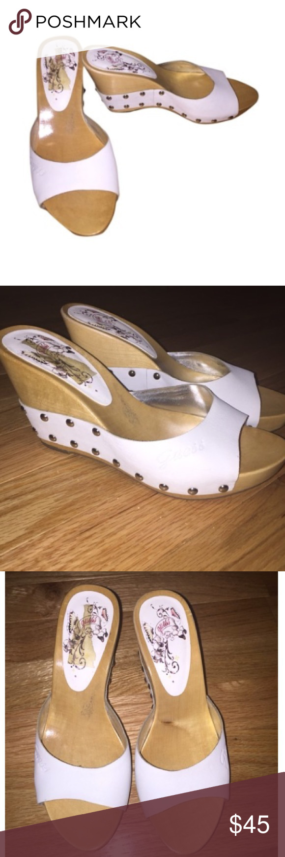GUESS White Wedge Sandals Gorgeous worn maybe once white GUESS wedges Guess Shoes Sandals