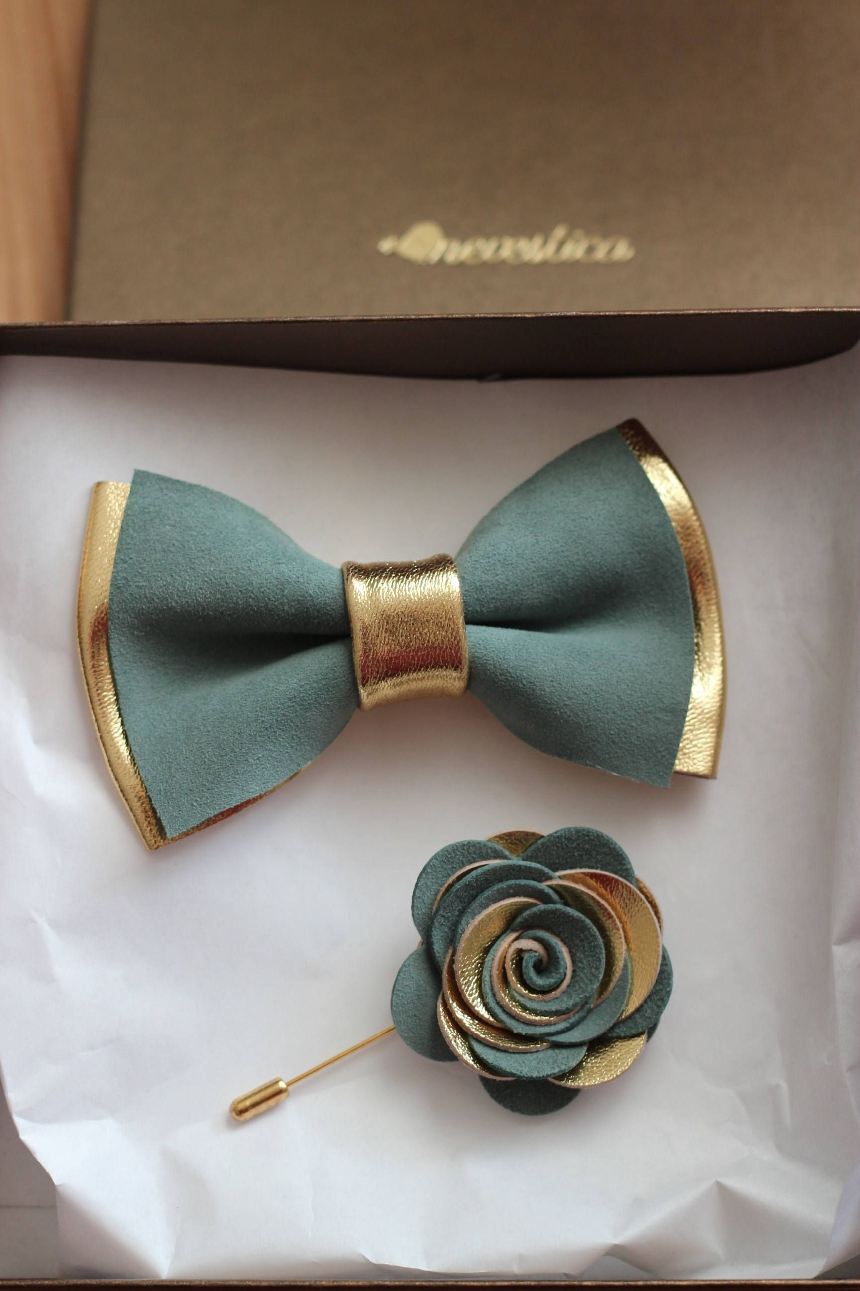 9353f6b08091 Sage green and Gold mens leather bow tie for men, dusty blue wedding bow tie,  genuine leahther, gold bow tie, rustic bow tie, toddler, ...