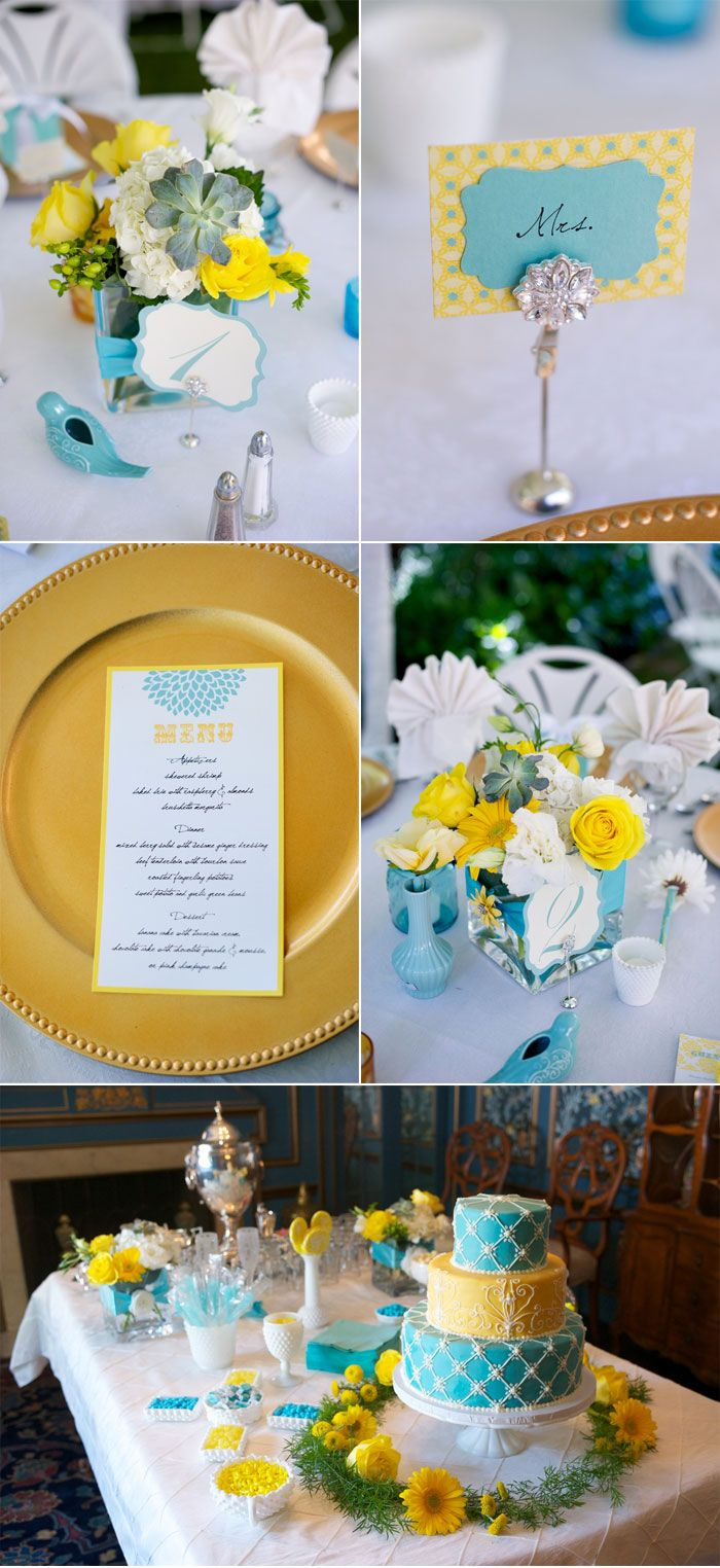 Bright Blue And Yellow Summer Wedding Events Parties In