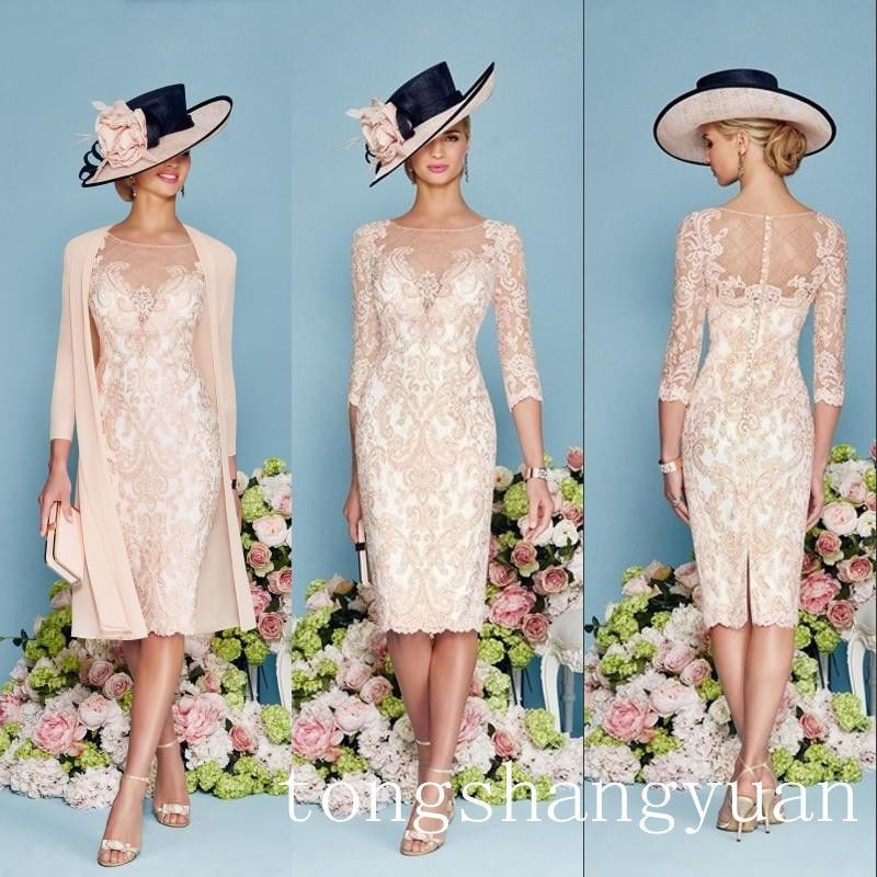 Luxury Beading Pink Lace Mother Of Bride Dress Jacket Chiffon Coat Knee Length In Clothing Shoes Accessories Wedding Formal Occasion The