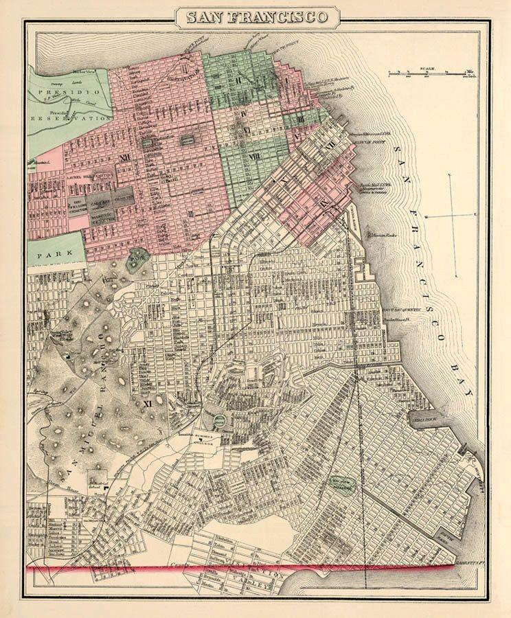 Antique Map Vintage Map Of San Francisco By AncientShades Mapas - Vintage sf map