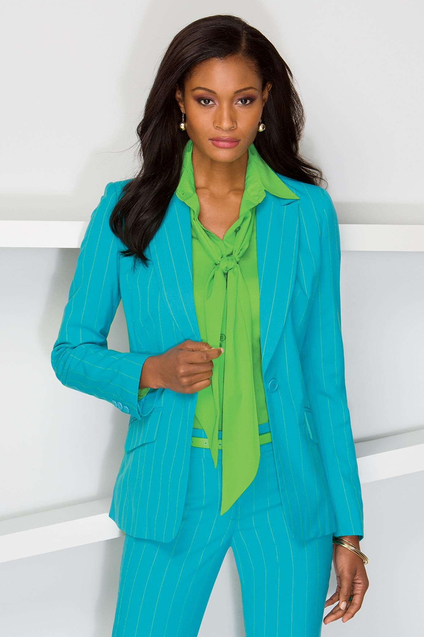 Pinstripe Suit Blazer - Coordinated Suiting Separates for Women in ...