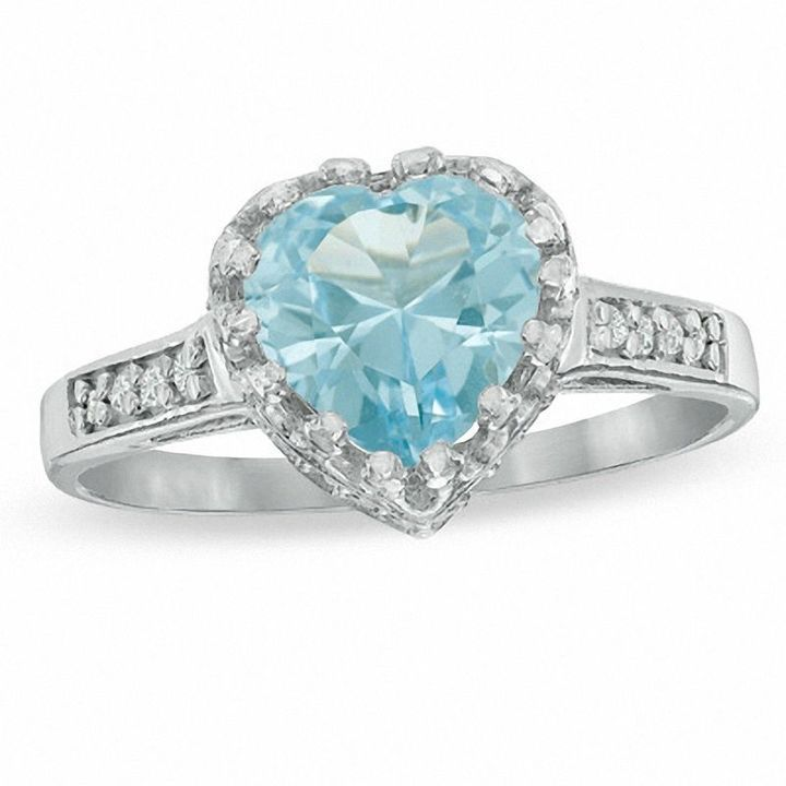Zales 8.0mm Heart-Shaped Lab-Created Pink Sapphire and White Topaz Crown Ring in Sterling Silver Pcv8oFE7
