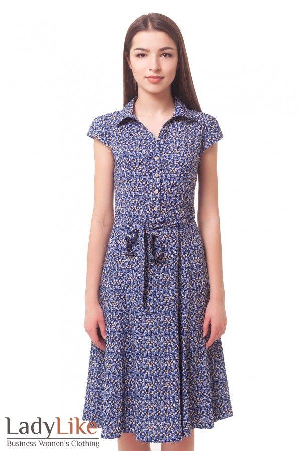 0904a7e0bdd Платье синее в бежевый цветочек из штапеля