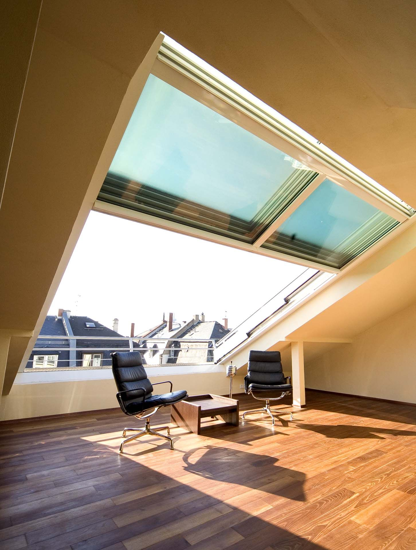 4 teiliges OpenAir-Dachschiebefenster in Frankfurt (Objekt 948). Wohnlfühlen über den Dächern von Frankfurt #loftconversions