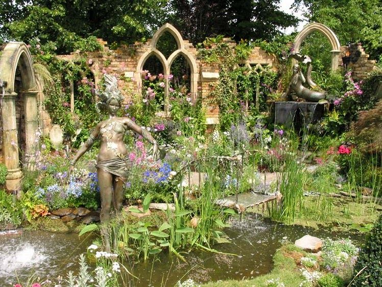 Gothic Garden, For The Inside Water Feature...I Like The Fake Windows And  Statues.