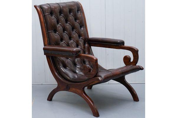 Fabulous Restored 1940 Brown Leather Chesterfield Library Slipper Creativecarmelina Interior Chair Design Creativecarmelinacom