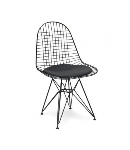 wire mesh dining chairs uk camping chair with umbrella charles ray eames style dkr side black cushion