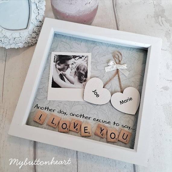Jahrestag Geschenk Partner, Geschenk zu sagen, dass ich liebe dich, personalisierte Scrabble-Kunst-Rahmen, Geschenk für Mann, Geschenk für Frau, Geschenk für Freund
