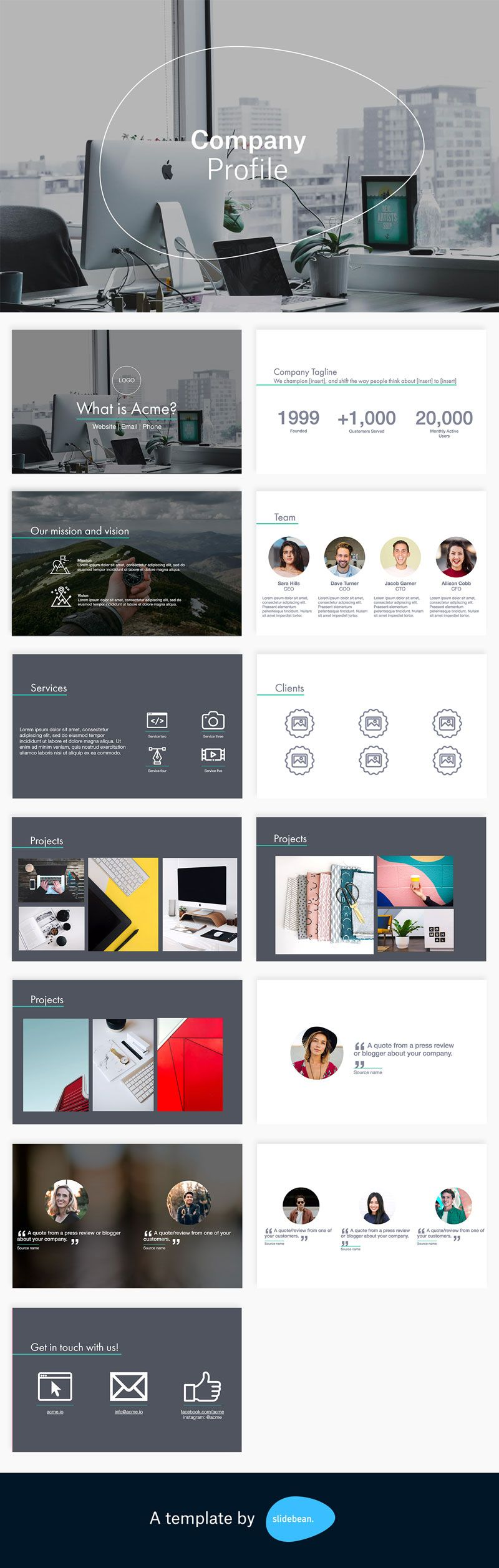 Company Profile Template Free Pdf Ppt Download Slidebean Company Profile Template Company Profile Brochure Design Layouts