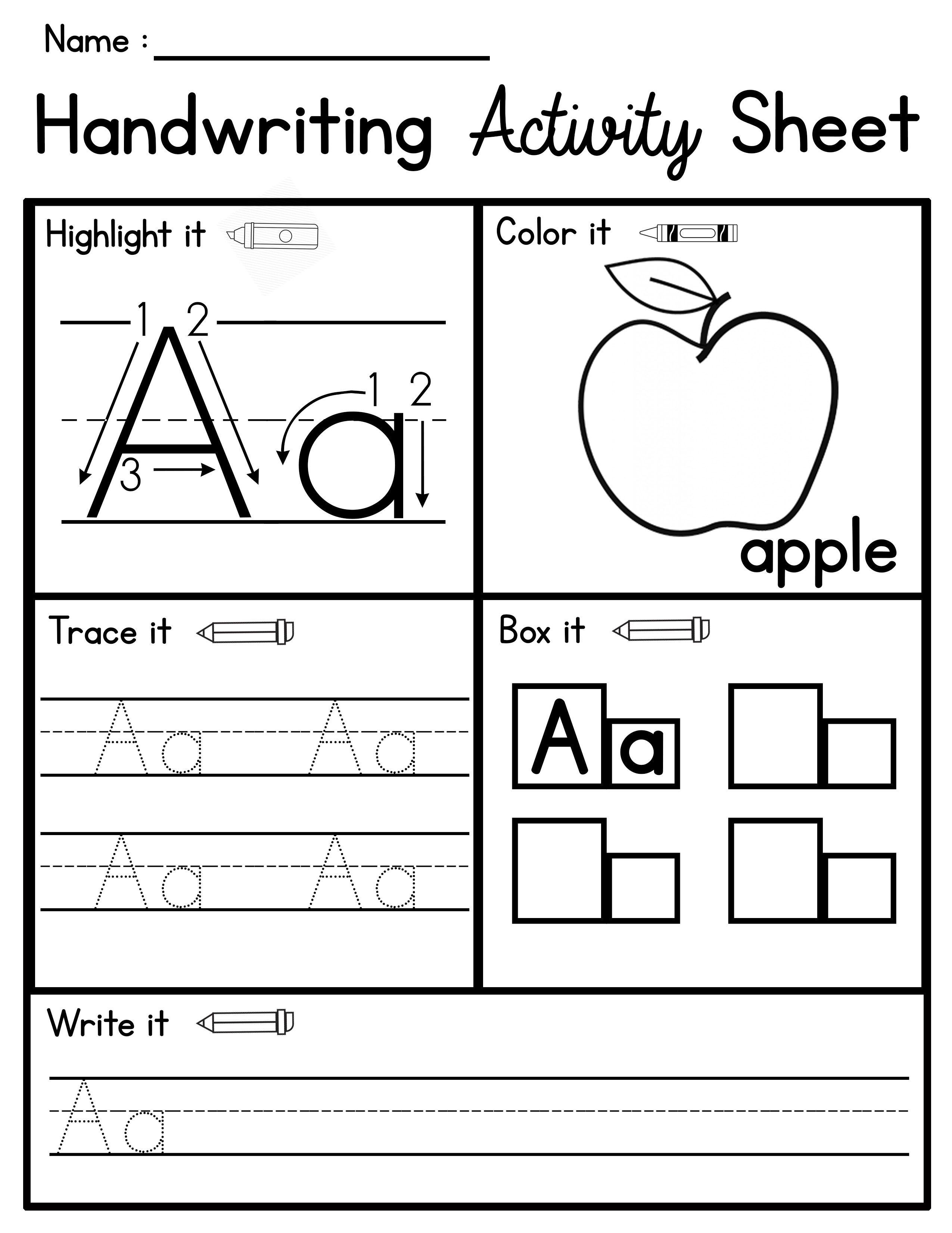 Handwriting Activity Sheets Abc Practice No Prep