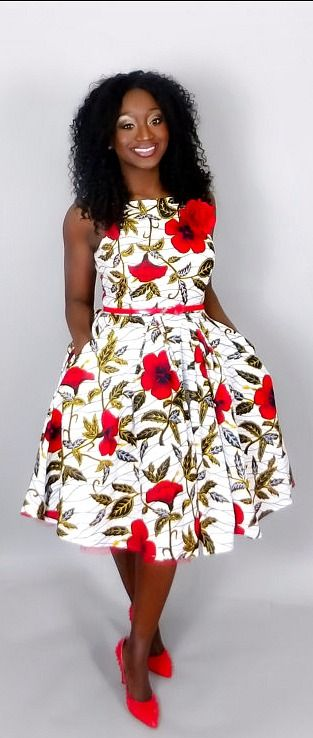 9250f4f81b6 Vintage style dresses like this will make you look sweet and classy. Floral African  print