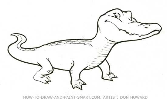 how to draw a alligator step by step