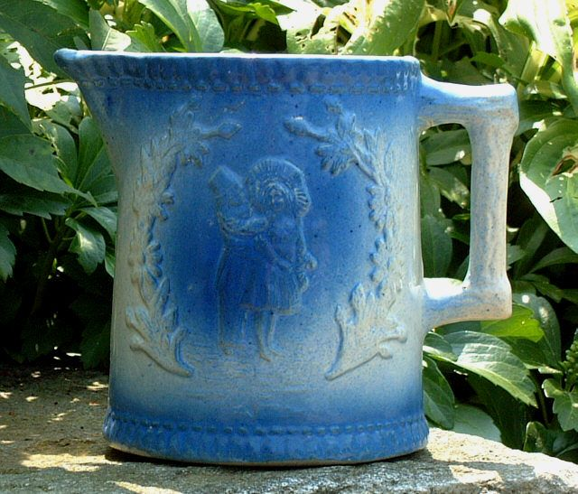 Antique Blue And White Stoneware Pitcher Late 18th Century
