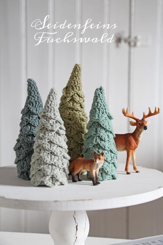 seidenfeins Blog vom schönen Landleben: 8 ❄ gehäkelte Fuchswald - Tannen   PATTERN   crochet foxwood firs