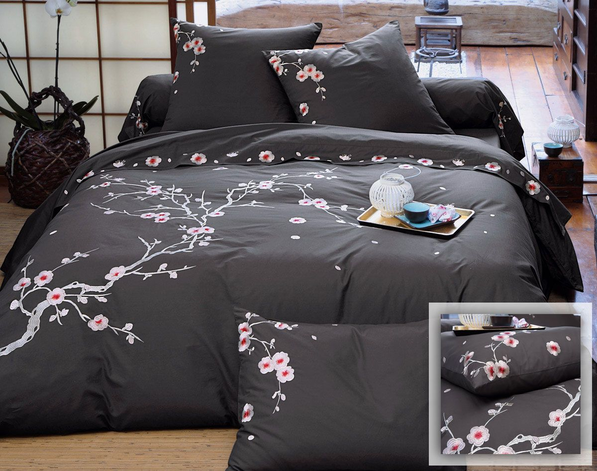 Linge de lit percale fleurs brod es housse de couette - Housse de couette japon ...