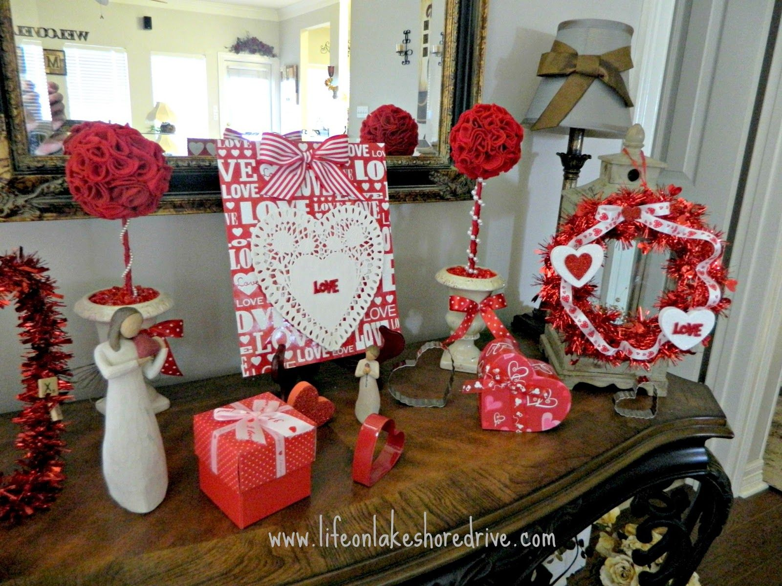 Valentine S Vignette With Dollar Tree Decor Valentines And Hearts