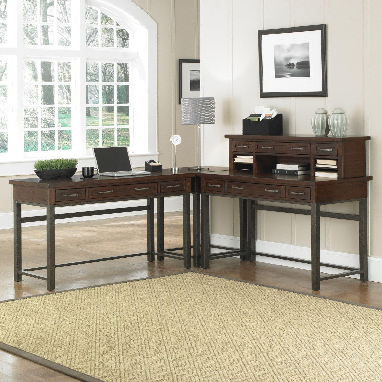 Home Styles Cabin Creek Corner L Shaped Desk With Mobile File Chestnut