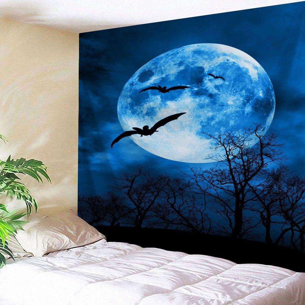 Halloween moon wall art decor tapestry wall art pinterest