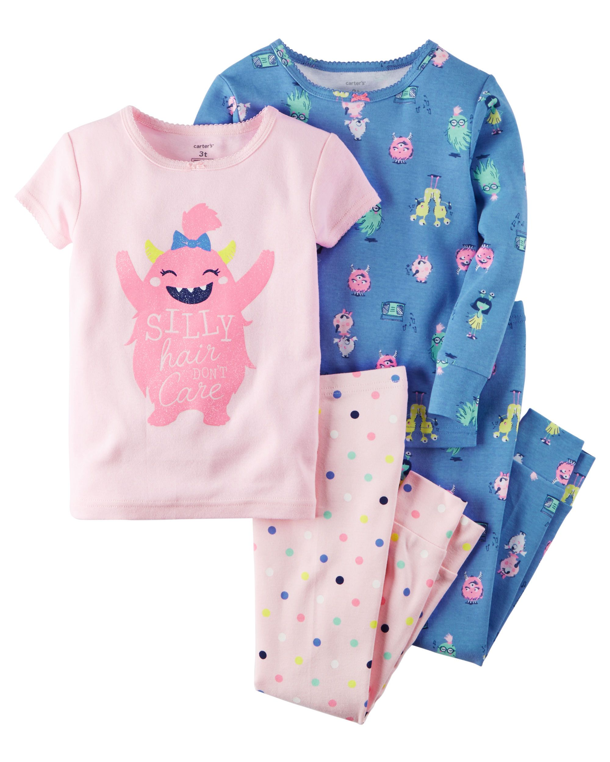 13ee23e03424 Baby Girl 4-Piece Snug Fit Glow-In-The-Dark Cotton PJS
