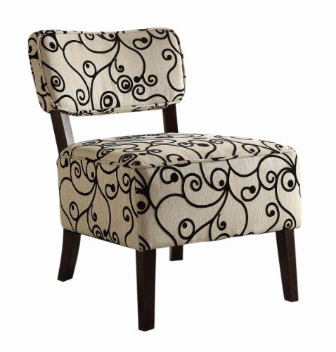Accent Chair With Swirl Bottom: Homelegance 1191F2S Armless Lounge Chair, Swirl Print